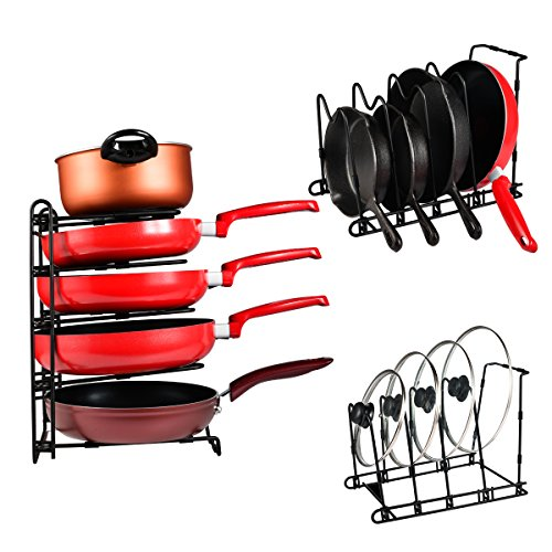 SHMEIQI Heavy Duty Pan Pot Lid Organizer Rack Holder Cabinet, Pantry, Countertop, Cupboard - Adjustable Compartments by SHMEIQI (Image #3)