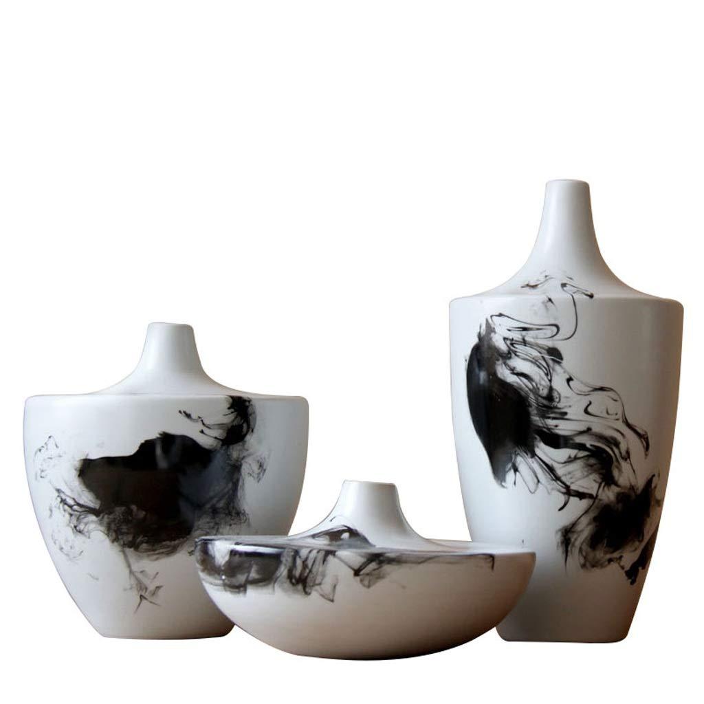 花瓶手描きのインク絵画セラミック花瓶ホームアクセサリーセラミック装飾景徳鎮セラミック花瓶 LQX B07SGCQBND