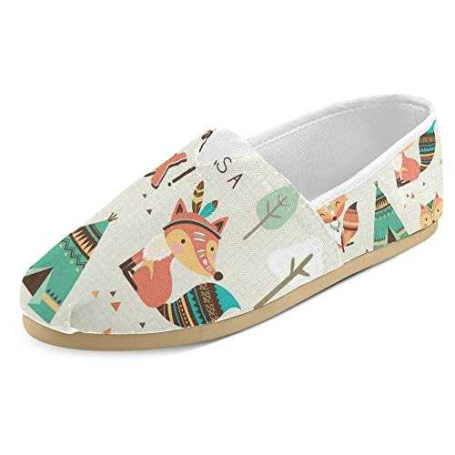 - InterestPrint Women's Loafers Classic Casual Canvas Slip On Fashion Shoes Sneakers Flats Size 8 Smart as a Fox Cartoon