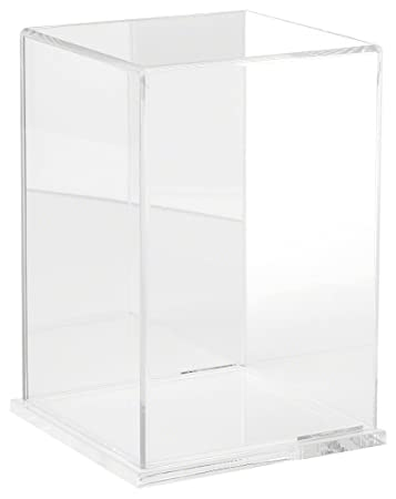 Plymor Clear Acrylic Display Case with Clear Base Mirror Back , 6 W x 6 D x 9 H