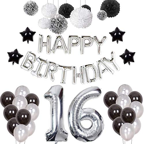 Puchod 16th Birthday Decorations, Happy Birthday Decoration Banner Number 16 Foil Ballon Party Decor Set with Tissue Paper Pom Pom Balls Black Gold Silver for Boy Men
