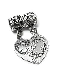 Sterling Silver Grandmother Granddaughter Love Heart w/ Daisy Flower Dangle Family Bead Pendant For European Chamilia Biagi Troll Pandora Charm Bracelets