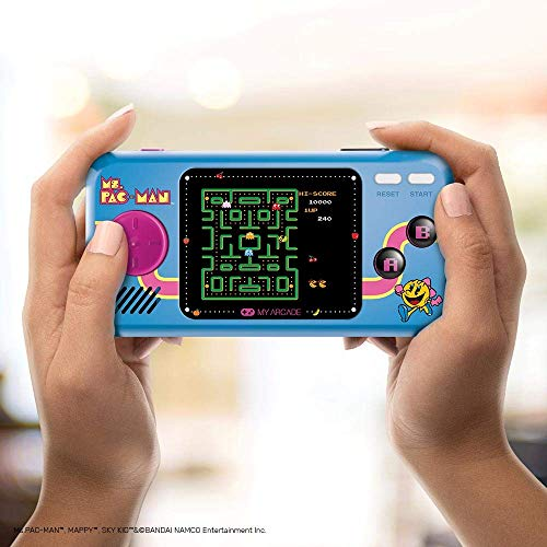 My Arcade Ms. Pac-Man Pocket Player - 8-Bit Portable Handheld Gaming System - Includes 3 Games - Ms. Pac-Man, Sky Kid, and Mappy - Licensed Collectible ()
