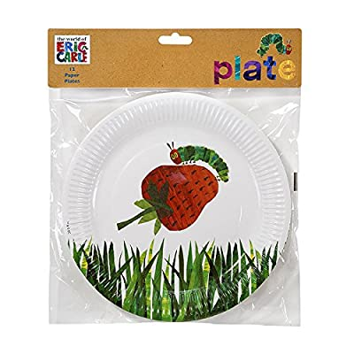"""Talking Tables The Very Hungry Caterpillar Kids Birthday Paper Plate, 11"""", Green"""