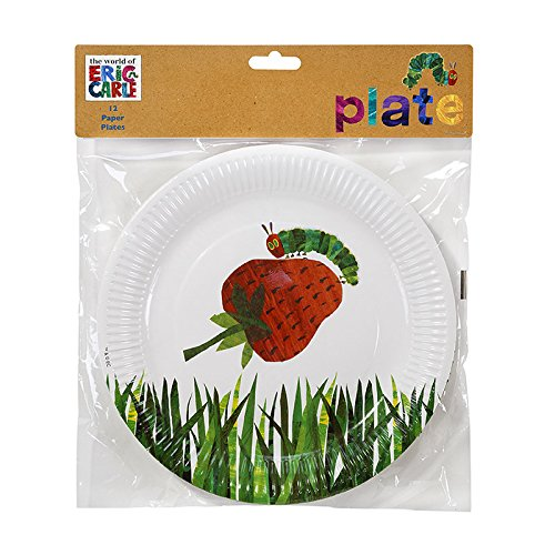 Talking Tables The Very Hungry Caterpillar Kids Birthday Disposable Plate, 12 count, 11 inches, Green 12 Caterpillar