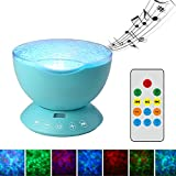 TOMNEW Remote Control Ocean Wave Projector Aurora Night Light Lamp 7 Colorful Light with Bulit-in Speaker Music Player For Baby Kids Adults Bedroom Living Room (Blue)