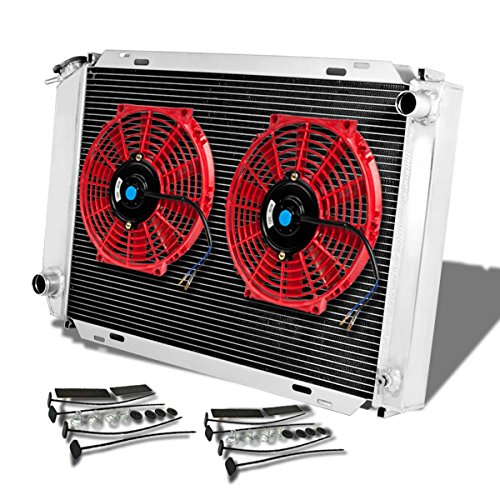 (For Ford Mustang 3rd Gen (Manual Transmission) 3-Row Tri Core Racing Radiator+2 x 10 inches Red)