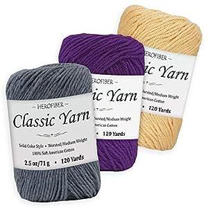 Surtido de hilo de algodón | mezclilla + púrpura real + amarillo país | 2.5 oz/bola - 3 colores sólidos - Worsted/Peso medio - para tejer, ganchillo, costura, decoración, artes y proyectos de manualidades