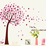 Beautiful Pink Peach Blossom Tree Wall Decal Home Sticker Paper Removable Living Dinning Room Bedroom Kitchen Art Picture Murals DIY Stick Girls Boys kids Nursery Baby Playroom Decoration