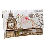 BMC Womens Textured PU Faux Leather Postage Stamp Design Print Flap Fashion Clutch Handbag - The Clock Strikes