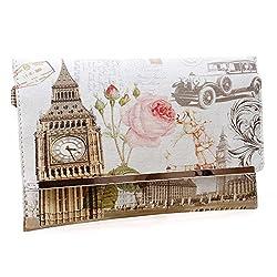 Bmc Womens Textured Pu Faux Leather Postage Stamp Design Print Flap Fashion Clutch Handbag The Clock Strikes