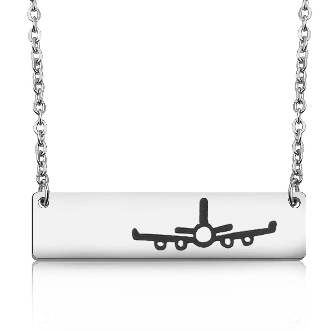WUSUANED Stainless Steel Airplane Plane Bar Pendant Necklace Gift for Traver Pilot Stewardess Flight Attendant (plane necklace silver)