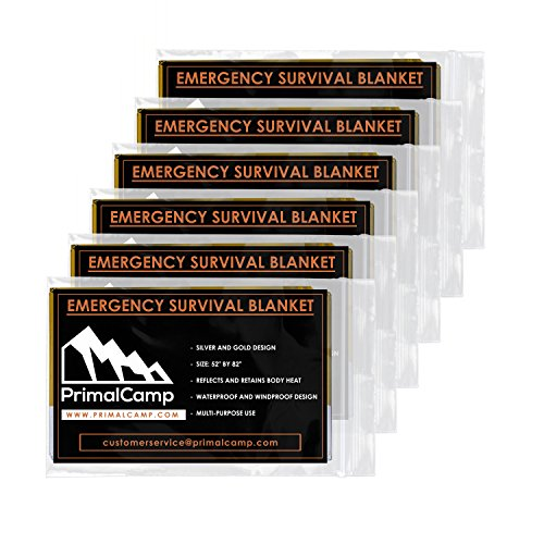 PrimalCamp Emergency Thermal Blankets Mylar for Shock Protection Survival (6 Pack) – Lightweight Designed for Bug Out Bags, Heat or Extreme Cold, Hiking, Camping Gear, Backpacking, or First Aid