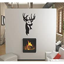 Deer / Moose / Buck Head Hunting Hunter Ourdoor Sports Hobby Picture Art - Animals - Peel & Stick Sticker - Vinyl Wall Decal - DISCOUNTED SALE PRICE - - Size : 8 Inches X 16 Inches - 22 Colors Available