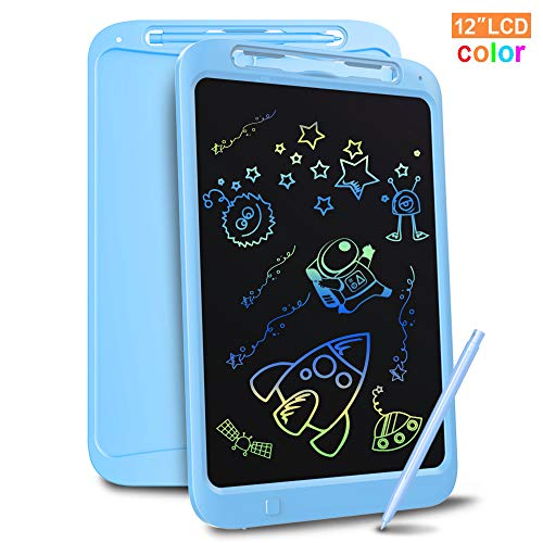 Richgv LCD Writing Tablet, 12 Inch Digital Ewriter Electronic Graphics Tablet with Screen Lock Portable Mini Board Handwriting Pad Drawing Tablet Suitable for Kids Home,School,Office Blue