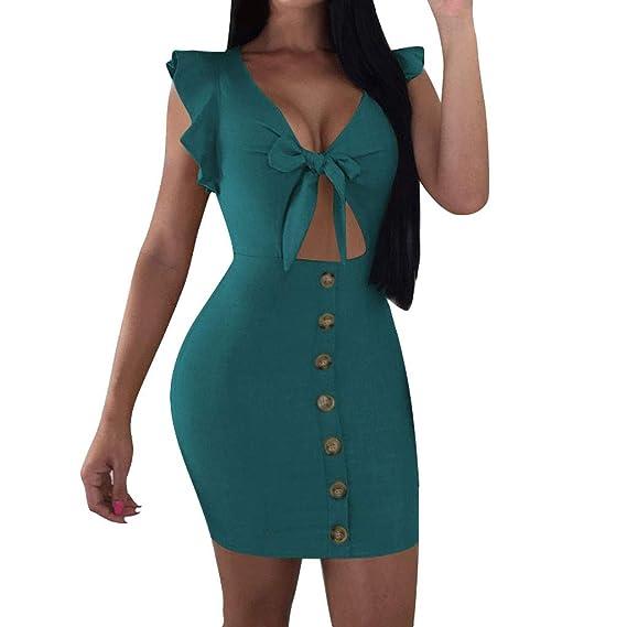 COZOCO Vestido de Mujer con Lazo en el Pecho Moda Sexy ...