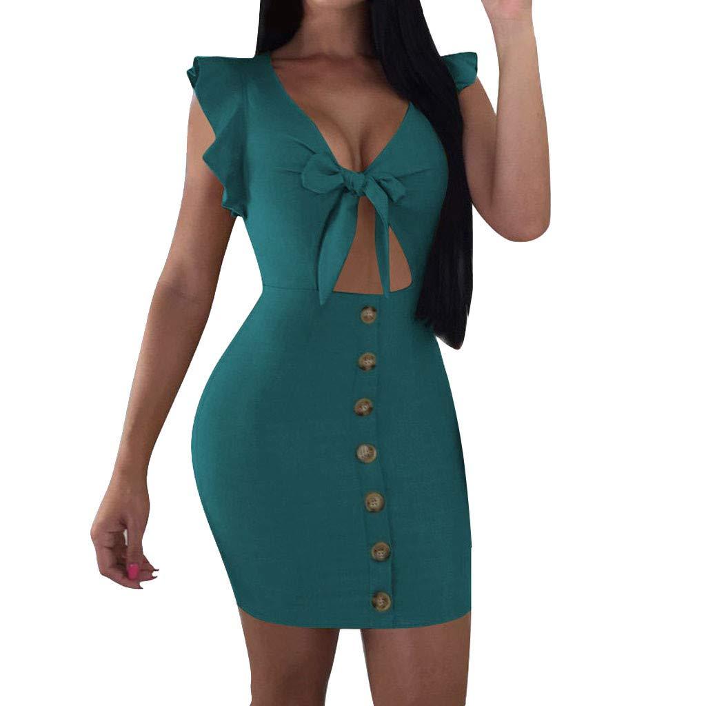 Women V-Collar Dress - Sleeveless Tight Fitting Frenulum Pure Color Dress,2019 New