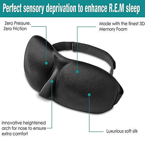 3D Memory Foam Sleep Mask With Heightened Nose Arch | Breathable Fabric & Adjustable Velcro Strap | For Men, Women, Meditation, Shift Workers & More | Bonus Travel Case & Ear Plugs by Generic (Image #4)