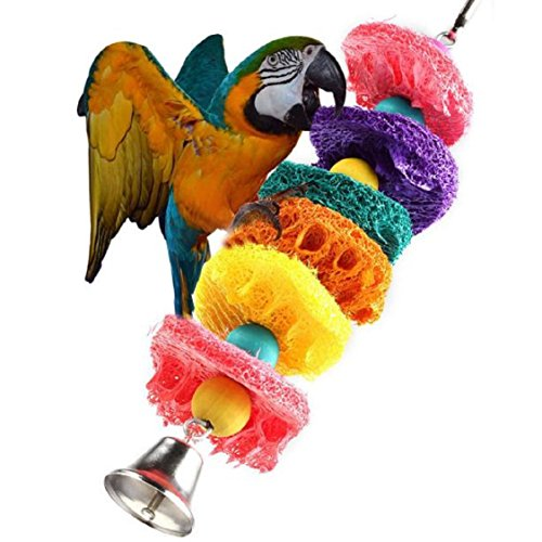 Ikevan 1 pc Parrot Toy Bird Cage Cockatoo Conure Grasp Chew Loofah Sponge Bite-resistant ()