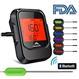 Meat Thermometer for Grilling with 6 Probe, BBQ Phone APP Remote Digital Wireless Bluetooth Meat Thermometer Instant Read with Magnet for BBQ Kitchen Smoker, Oven Safe