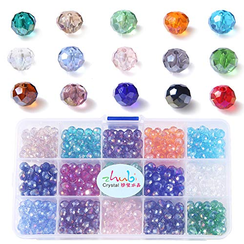 ZHUBI Crystal Beads Rondelle Loose Beads-8mm Briolette Faceted Round Assorted 15 Colors Total 525pcs For Bracelet with a free Container Box