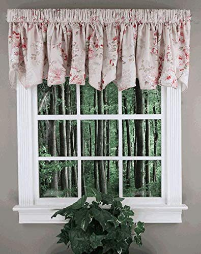 - Ellis Curtain Chatsworth Floral Print Lined Scallop Valance 70-Inch-by-17-Inch, Red