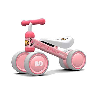 ZLMI Niños Andador Bebé Equilibrio Coche De Cuatro Ruedas Walker Mute Wheel para 1-3 Años De Edad Bebé,Pink: Amazon.es: Deportes y aire libre