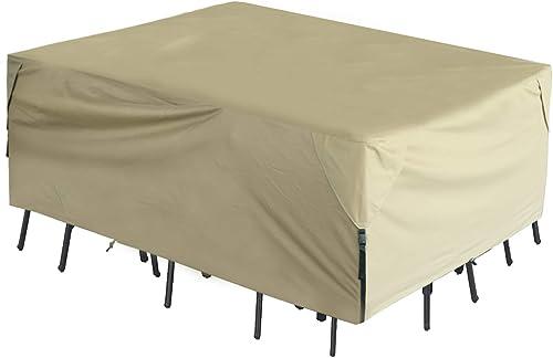 Leader Accessories 600D PVC Tough Canvas 100 Waterproof Square Round Patio Table Chair Set Cover 96 L x96 W x32 H , Beige