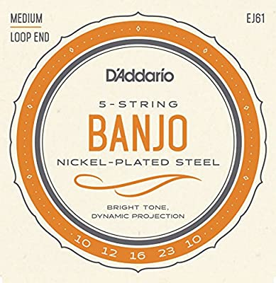 D'Addario EJ61 Nickel 5-String Banjo Strings, Medium, 10-23 from D'Addario &Co. Inc