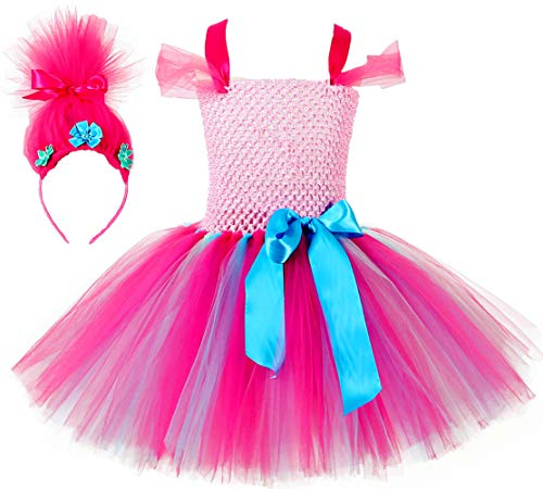 Tutu Dreams Poppy Trolls Costume for Girls with Wig Headband Birthday Halloween Party (M, Troll)]()
