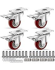 HAUSEE Zwenkwielen met rem, industriële wielen met plaat, heavy duty wielen, meubelwielen met schroefaccessoires, ruisvrije platterwielen, 4 stuks, rood (75 mm)