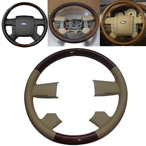 Pursuestar Tan Leather Wood Steering Wheel Cover Cap for 2004-2008 Ford F150 FX4 SuperCrew Heritage Lincoln Mark