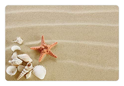 - Ambesonne Shell Pet Mat for Food and Water, Exotic Seashells on Sand Simplistic Tranquil Travel Summer Photography, Rectangle Non-Slip Rubber Mat for Dogs and Cats, Pale Sepia Salmon Ivory
