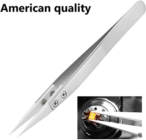 Non-Conductive High Temperature Resistance 3000 Degrees Applicable to Precision Electrical Operation Stainless Steel Ceramic Tweezers Silver Ceramic Tweezers