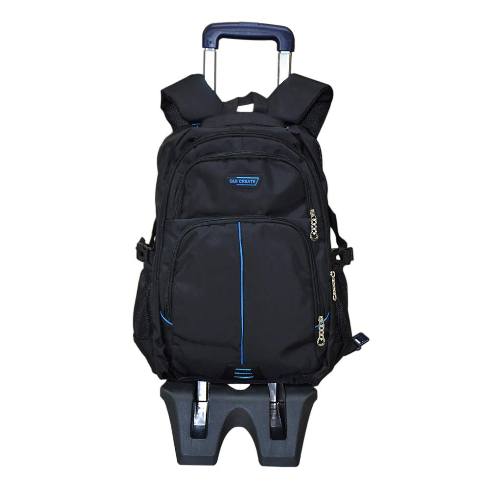 Hzjundasi学生トロリースクールバックパック - 六つの車輪を登って階段を登る - 男の子女の子キッズ子供用ローリングスクールバッグ(ブルー)   B07FSKV8VS