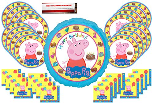 Peppa Pig Party Supplies Bundle Pack for 16 guests (Bonus 17 Inch Balloon Plus Party Planning Checklist by Mikes Super Store) ()