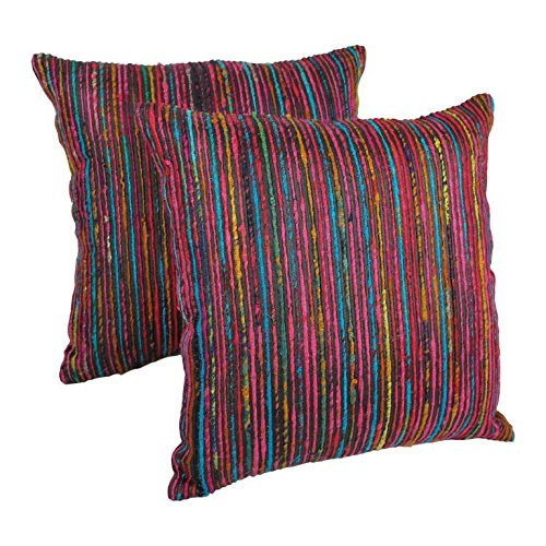 Blazing Needles Throw Pillow Set with Rainbow Yarn Threading