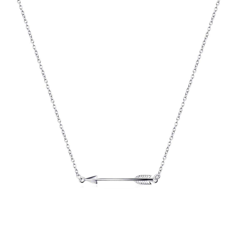 BGTY Femme Collier Cha/îne en argent sterling 925 poli lat/éralement fl/èche horizontale 18 inch
