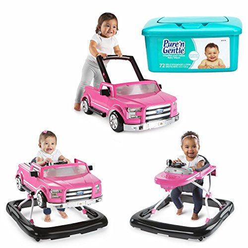 Bright Starts 3 Ways To Play 3-in-1 Activity Baby Walker Car for Boys, Ford F 150 in PINK with Hypoallergenic Baby Wipes by MegaMarketing