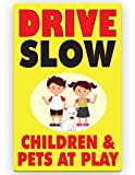 Drive Slow Kids | Children & Pets are at Play Sign 11 x 17 inches