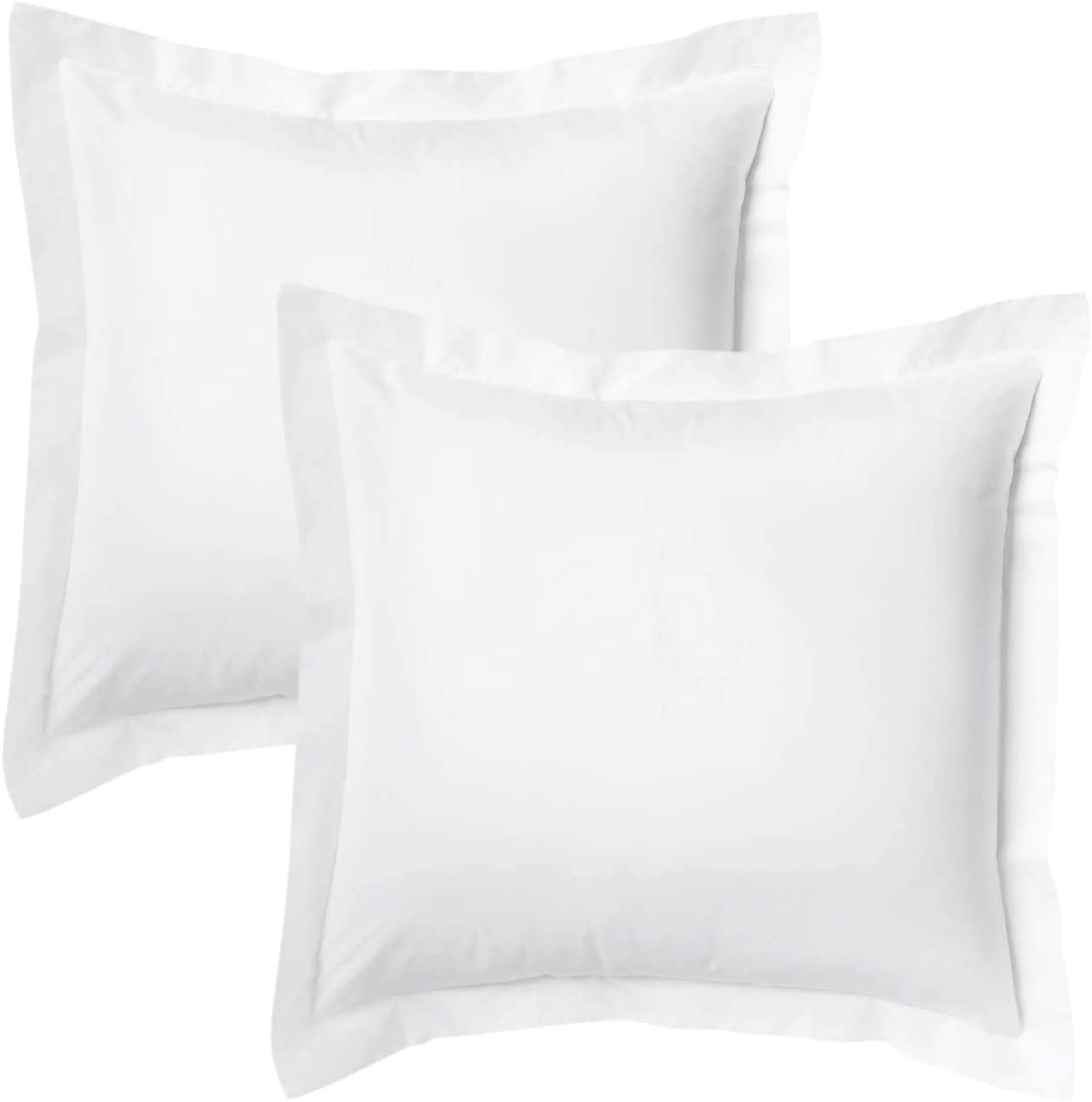 Natura Pura Premium 1000 Thread Count, Pillow Sham 100% Cotton, 2 Inch Border Pillow Cover, (Throw/Euro Sized 24 by 24 inch) White, Set of 2