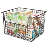 mDesign Metal Kitchen Pantry Food Storage Organizer Basket - Farmhouse Grid Design with Open Front for Cabinets, Cupboards, Shelves - Holds Potatoes, Onions, Fruit - 12' Wide, 4 Pack - Graphite Gray