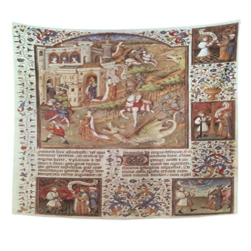 Semtomn Tapestry Artwork Wall Hanging Fine St George Killing English School 15Th Century Manuscripts 50x60 Inches Home Decor Tapestries Mattress Tablecloth Curtain ()