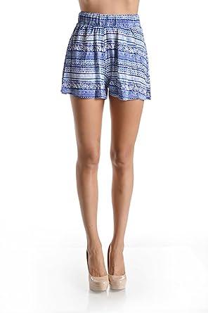 fa751c3475 Women's High Waisted Flared Mid Thigh Shorts - Printed Elastic Waist - Blue  White