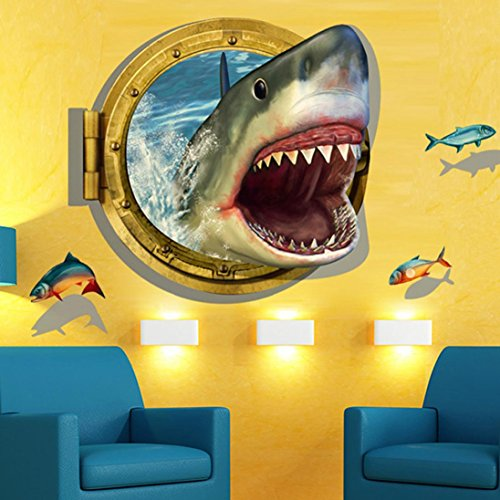 Wall Sticker  Yezijin 3D Shark Background Wall Decoration Removable Wall Stickers For Kids Rooms Bedroom