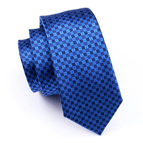 (Hi-Tie Men Navy Blue Check Plaid Tie Necktie with Cufflinks and Pocket Square Tie)
