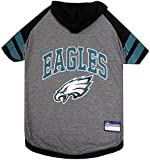 NFL Philadelphia Eagles Hoodie for Dogs & Cats. | NFL Football Licensed Dog Hoody Tee Shirt, Small| Sports Hoody T-Shirt for Pets | Licensed Sporty Dog Shirt.