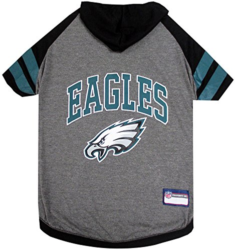 NFL PHILADELPHIA EAGLES HOODIE for DOGS & CATS. | NFL FOOTBALL licensed DOG HOODY Tee Shirt, X-Small| Sports HOODY T-Shirt for Pets | Licensed Sporty Dog Shirt.