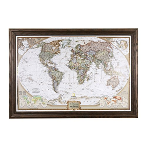 Push Pin Travel Maps Personalized Executive World with Solid Wood Brown Frame and Pins 24 x 36
