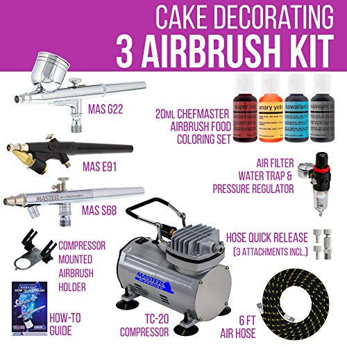 Master Airbrush Premium 3 Airbrush Cake Decorating Kit With G22 S68 E91 Master Airbrushes And Tc20 Air Compressor 4 Chefmaster Airbrush Food Colors7